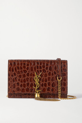 Saint Laurent Kate Small Croc-effect Leather Shoulder Bag - Brown