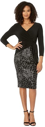 Adrianna Papell Jersey Wrap Embroidered Sheath Dress (Black) Women's Dress