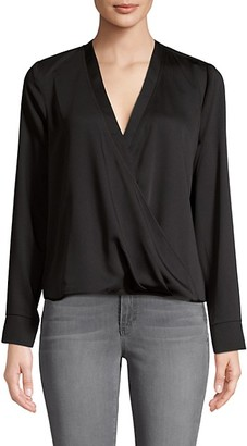 BCBGMAXAZRIA Faux Wrap Long-Sleeve Blouse