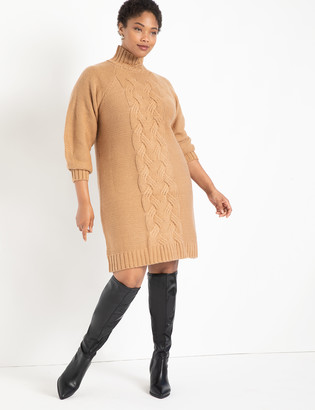ELOQUII Turtleneck Cable Sweater Dress