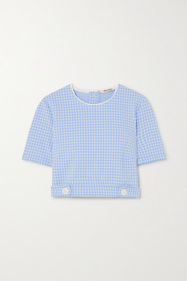 Miu Miu Cropped Scalloped Gingham Stretch-knit Top - Blue