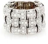 Roberto Coin 18K White Gold Appassionata Pavé Diamond Basketweave Ring Size 5.75