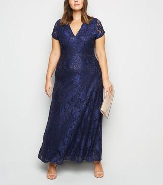 New Look Mela Curves Sequin Maxi Dress
