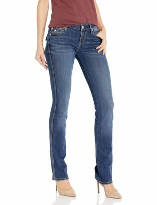 True Religion Women's Billie Big T Mid Rise Straight Leg fit Jean with Back Flap Pockets