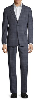 Tommy Hilfiger Regular Stretch-Fit Windowpane Wool-Blend Suit
