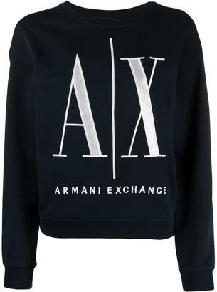 Armani Exchange Logo-Print Round Neck Sweatshirt