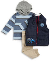 Kids Headquarters Boys 2-7 Sherpa Trim Puffer Vest, Hooded Tee and Chinos Set