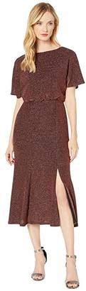 Donna Morgan Metallic Stretch Knit Midi Dress (Gold) Women's Clothing
