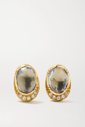 Brooke Gregson Orbit Halo 18-karat Gold, Aquamarine And Diamond Earrings - one size