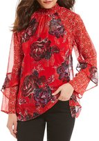 Figueroa & Flower Leah Mock Ruffle Neck Printed Woven Top