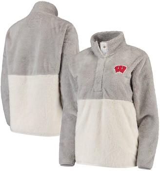Women's Gray/Cream Wisconsin Badgers Fuzzy Fleece Colorblocked Four-Snap Pullover Jacket