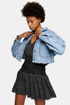 Topshop Womens Cropped Denim Jacket - Mid Stone