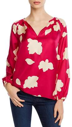 Theory Floral-Printed Silk Puff Sleeve Blouse