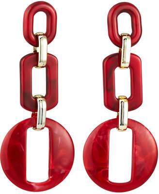 Natasha Accessories Limited Chain Link Earrings, Red
