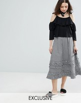 Monki Gingham Tiered Midi Skirt
