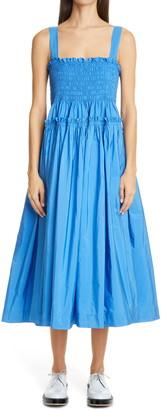 Molly Goddard Kayla Shirred Taffeta Midi Dress