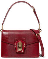Dolce & Gabbana Lucia Lizard-effect Leather Shoulder Bag - Red