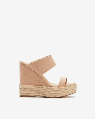 Express Double Strap Platform Wedge Sandals
