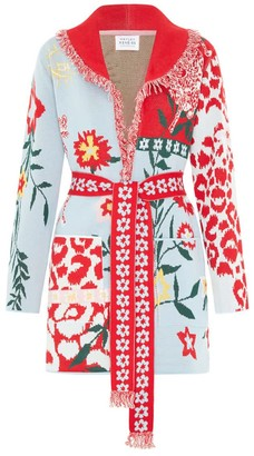 Hayley Menzies Enchanted Leopard Blue/Red Short Cardigan