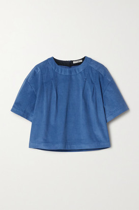 Three Graces London Kyrstin Cropped Pleated Cotton-corduroy Top - Blue