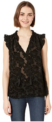 Kensie Daisy Burnout Top KS3K4678 (Black) Women's Clothing