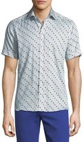 Etro Geometric-Print Short-Sleeve Cotton Shirt