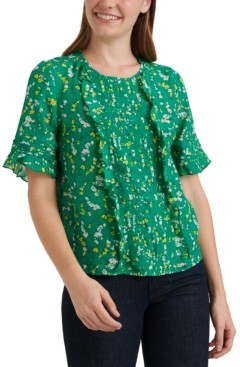 Lucky Brand Skylar Floral-Print Pleated Top