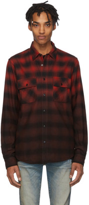 Amiri Red and Black Flannel Dip-Dye Shirt