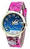AMA(TM) Men Women Christmas Pattern Flower Print Leather Band Analog Quartz Vogue Wrist Watch (Hot Pink)