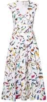 Carolina Herrera bird print midi dress