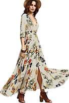 Zilcremo Women's Bohemian V Neck Print Vintage 3/4 Sleeve Swing Maxi Evening Dress XL