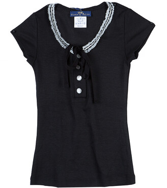 Roma e Tosca Black Lace Trim Tshirt 8 Yrs