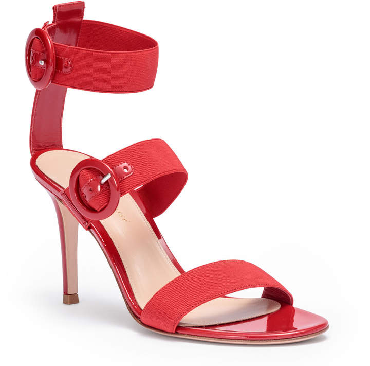 Gianvito Rossi Red patent leather elastic sandals