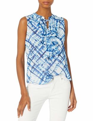 Tommy Hilfiger Women's Tie Dye Ruffle Front Sleeveless Woven Top