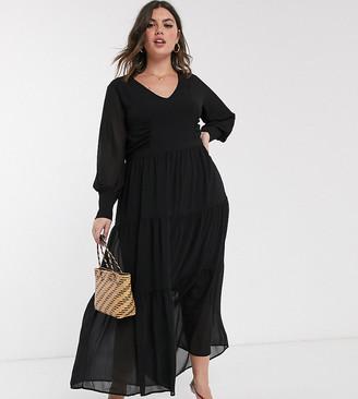 Vero Moda Curve tiered smock maxi dress with volume sleeve