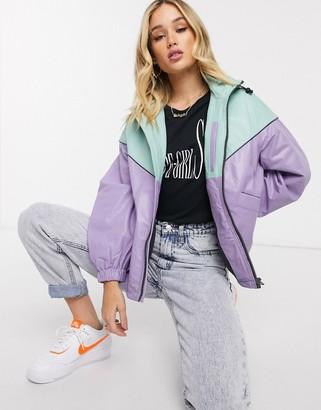 Pepe Jeans Dua Lipa x leather colourblock windbreaker in lilac