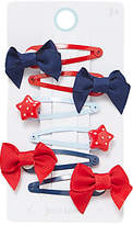 John Lewis Girls' Star and Bow Hair Clips, Pack of 6, Red/Blue