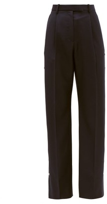Christopher Kane Press-stud Wool-twill Trousers - Womens - Navy