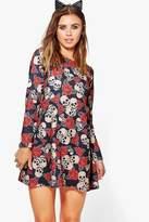 boohoo Petite Hannah Skull + Rose Halloween Swing Dress
