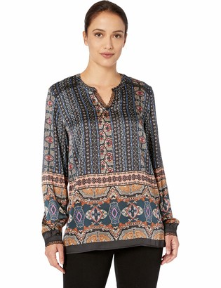 Tribal Women's Long Sleeve Printed Blouse with Lace Details