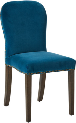 OKA Stafford Velvet Dining Chair - Sea Blue