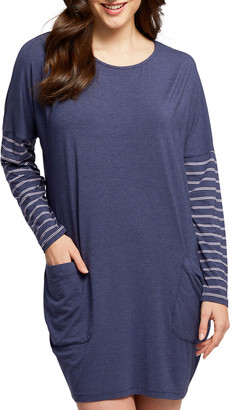Fleurt Dolman Striped-Sleeve Nightshirt