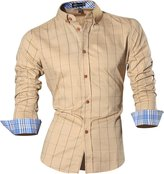 jeansian Men's Long Sleeves Plaid Slim Fit Button Down Dress Shirt 84N1 L