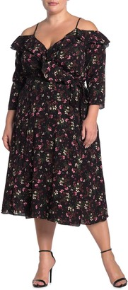 City Chic Pretty Floral Cold Shoulder Faux Wrap Midi Dress (Plus Size)