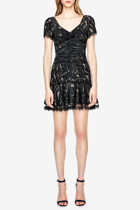 Jonathan Simkhai Metallic Lace Mini Ruffle Dress