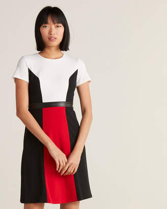 Karl Lagerfeld Paris Color Block Belted Fit & Flare Dress