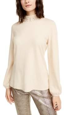 Alfani Petite Embellished Mock-Neck Sweater, Created For Macy's