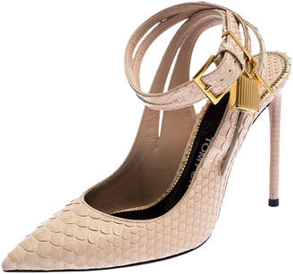 Tom Ford Beige Python Leather Ankle Lock Slingback Pointed Toe Sandals Size 36.5
