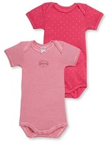 Petit Bateau Set of 2 baby girls short-sleeved bodysuits.