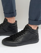 Pull&bear Faux Leather Hi -top Trainers In Black